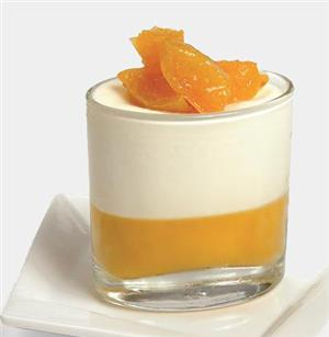 Peach compote with yogurt mousse
