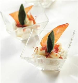 Parmesan Mousse with raw ham and piers